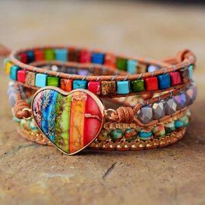 ROMANCE Handmade Leather Chakra Wrap Bracelet
